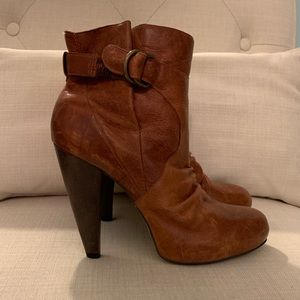 Distressed Leather Booties